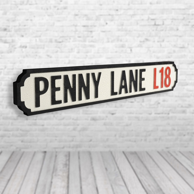 1Wall Penny Lane Vintage Road Sign / Street Sign | Made of MDF