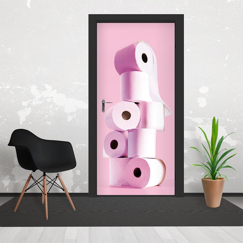 Pink Stacked Toilet Paper 3 Piece Door Mural 95cm x 210cm
