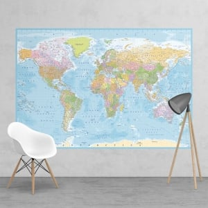 Political Blue World Map Feature Wall Wallpaper Mural | 158cm x 232cm