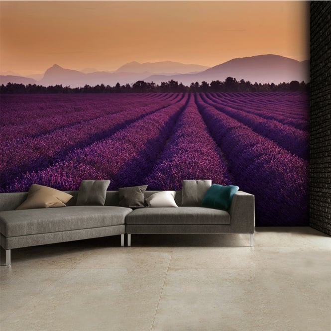 1Wall Purple Lavender Fields Wall Mural | 315cm x 232cm