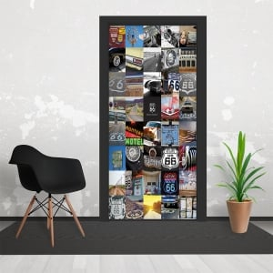 Route66 USA Collaged 3 Piece Door Mural 95cm x 210cm
