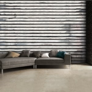 Rustic Horizontal Wooden Panel Effect Wallpaper Mural | 315cm x 232cm