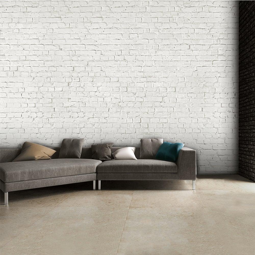 White Brick Wall Part - 45: Rustic White Brick Wall Mural   315cm X 232cm
