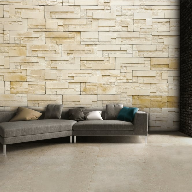 1Wall Sandstone Neutral Rock effect Wall Mural | 315cm x 232cm