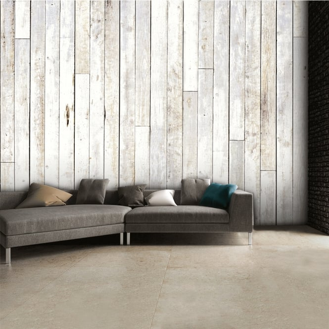 1Wall Shabby Chic Coloured Wooden Panel Wall Mural | 315cm x 232cm