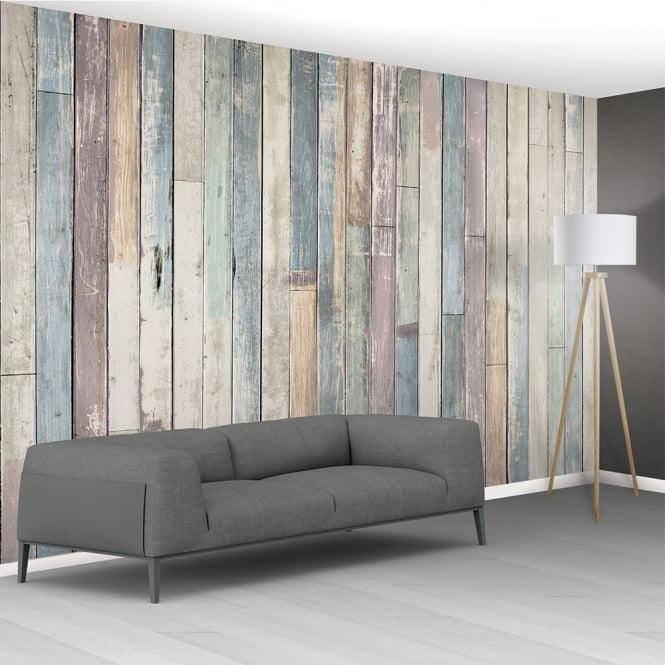 1Wall Shabby Chic Pastel Coloured Rustic Wood Planks Mural Wallpaper | 366cm x 253cm