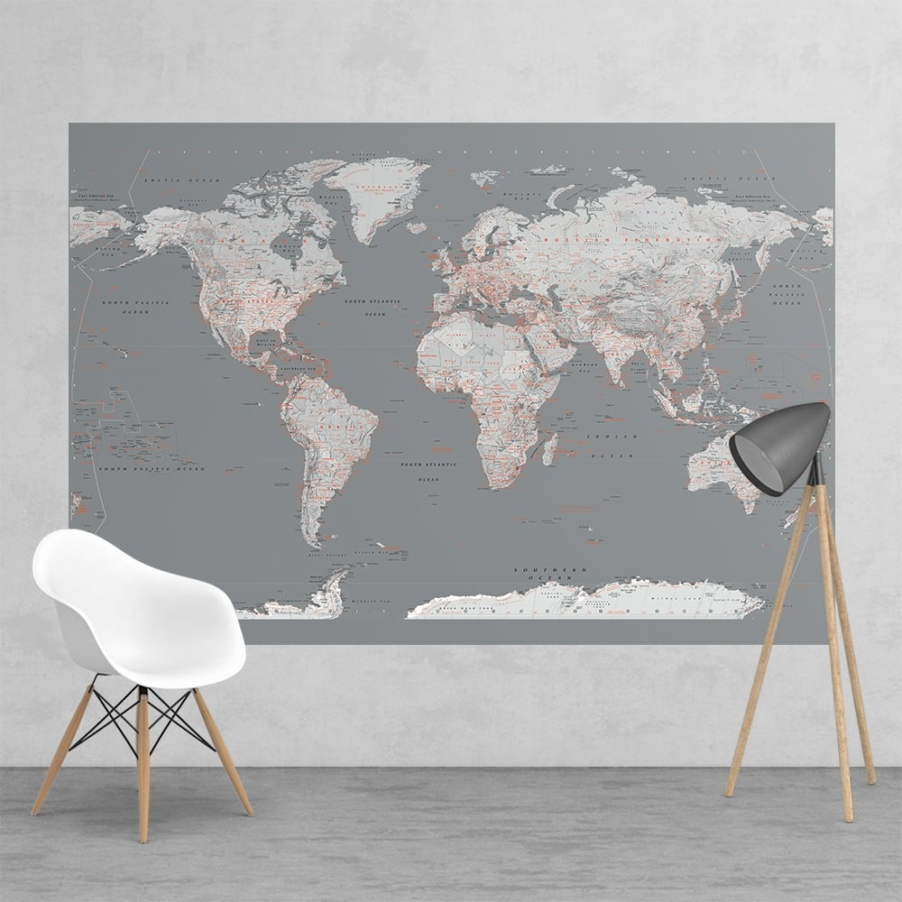 Silver Grey World Map Feature Wall Wallpaper Mural