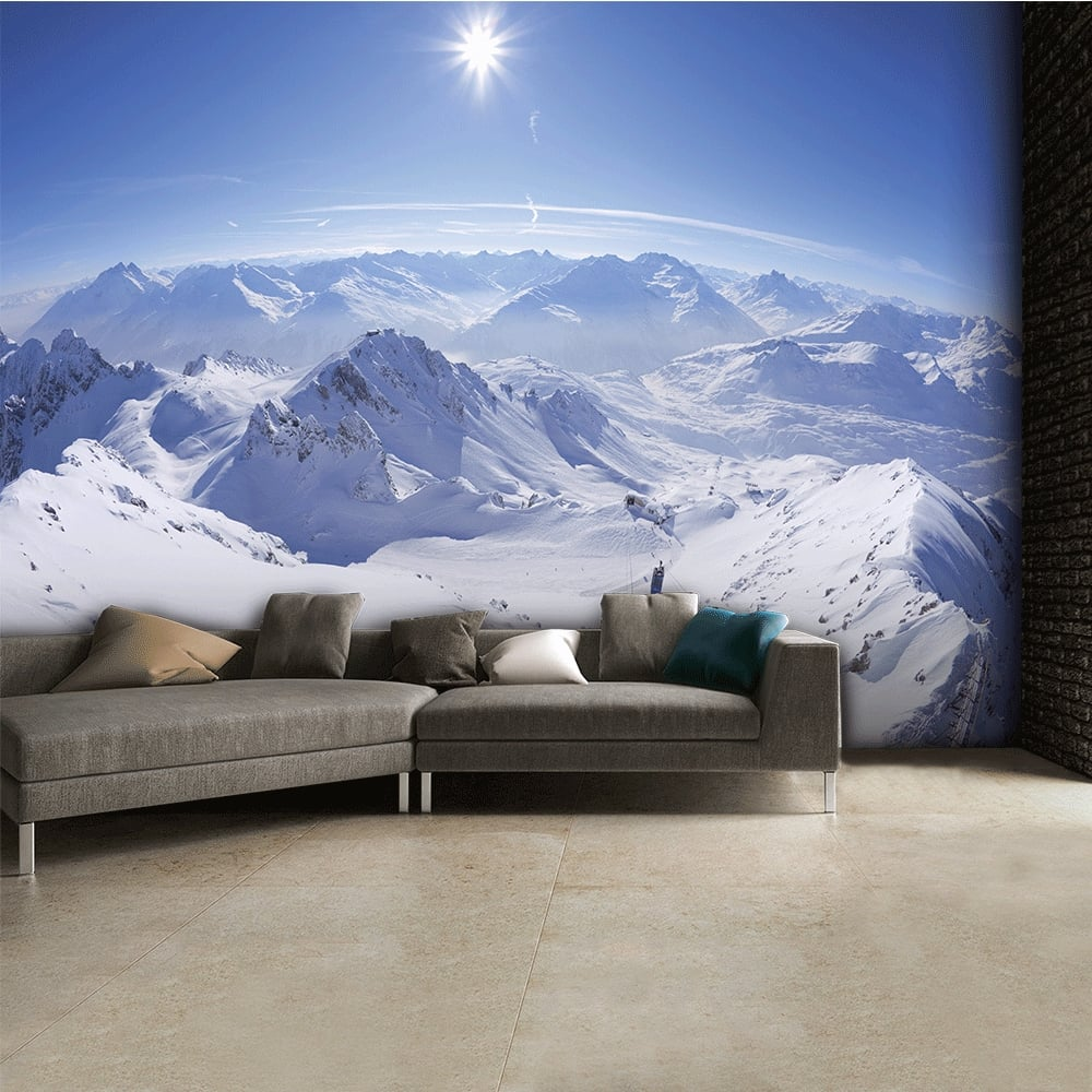 Snowy Mountain Tops Ski Wall Mural 315cm x 232cm