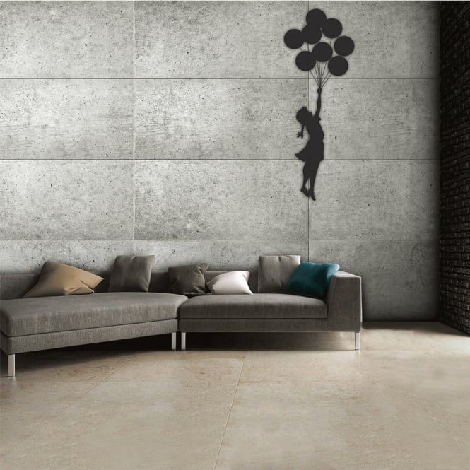 1Wall Street Art Banksy Graffiti Girl with a balloon Grey Rustic Wall Mural | 315cm x 232cm