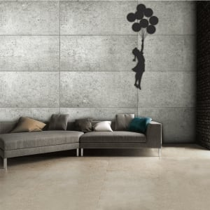 Street Art Banksy Graffiti Girl with a balloon Grey Rustic Wall Mural | 315cm x 232cm
