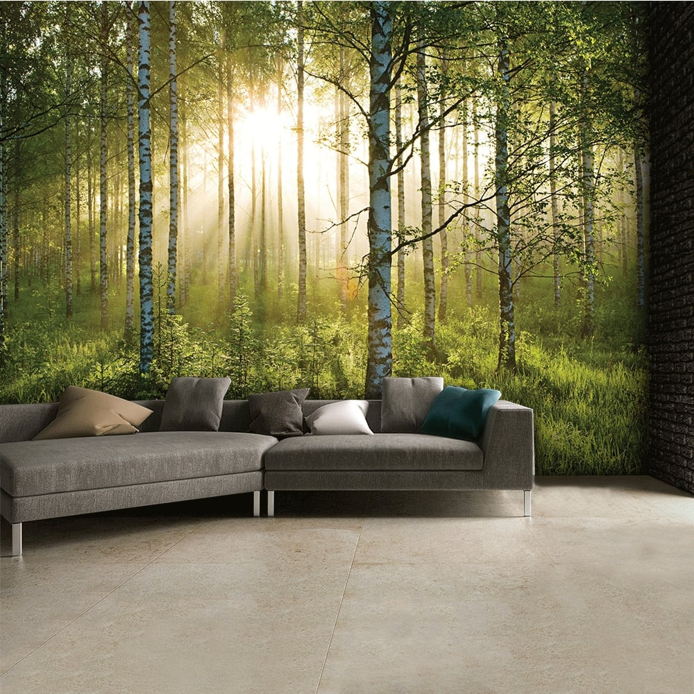 Summer forest green wall mural 315cm x 232cm for Nature wallpaper for walls