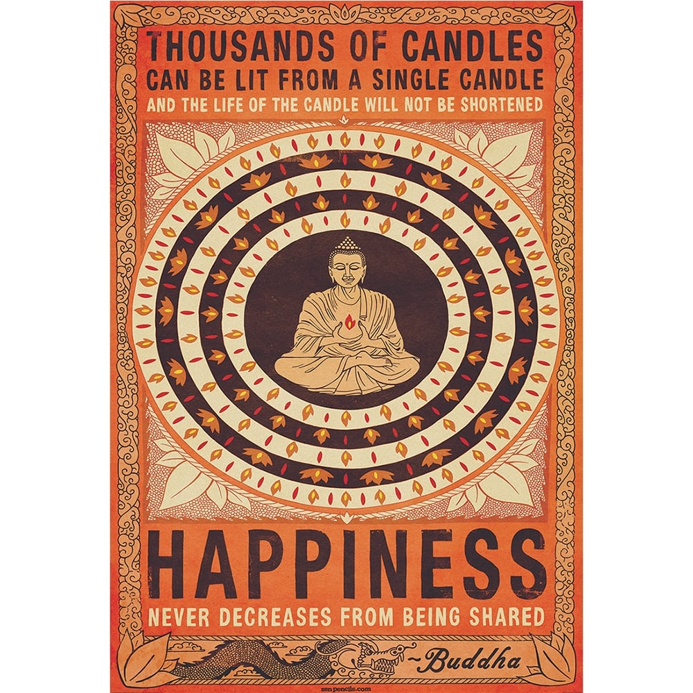 Thousand Of Candles Happiness Buddha Feature Wall Wallpaper Mural