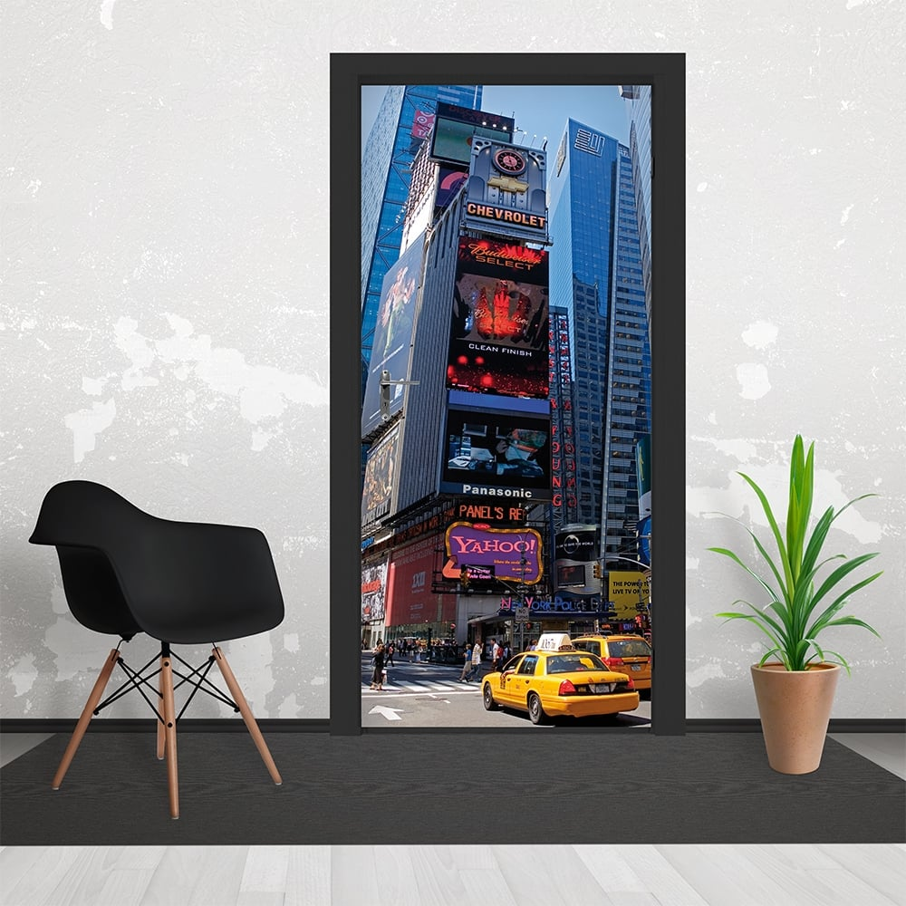 Time square new york yellow taxi door wallpaper 3 piece for Door wall mural