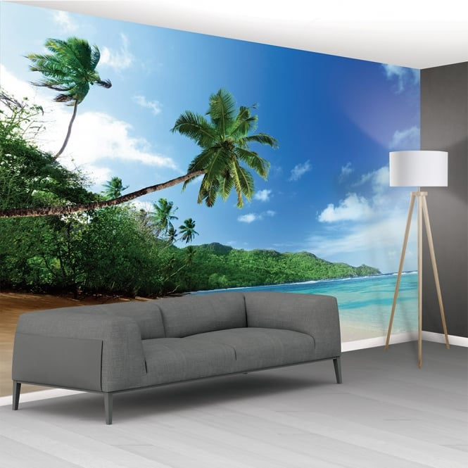 1Wall Tropical Beach Sea Palm Trees Exotic Mural Wallpaper | 366cm x 253cm