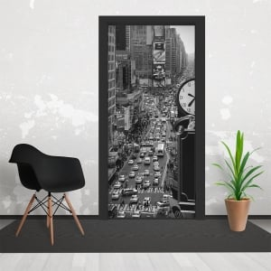 Vintage Black and White NewYork City Time Square Wallpaper 3 Piece Door Mural 95cm x 210cm