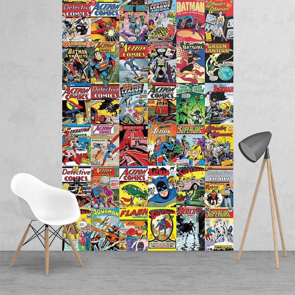 Vintage classic dc comic superhero collage batman robin for Mural collage