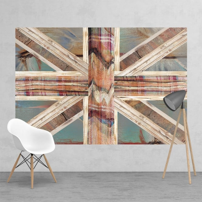 1Wall Vintage Shabby Chic Union Jack Flag Feature Wall Wallpaper Mural | 158cm x 232cm