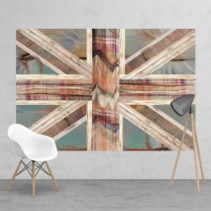 Vintage Shabby Chic Union Jack Flag Feature Wall Wallpaper Mural | 158cm x 232cm
