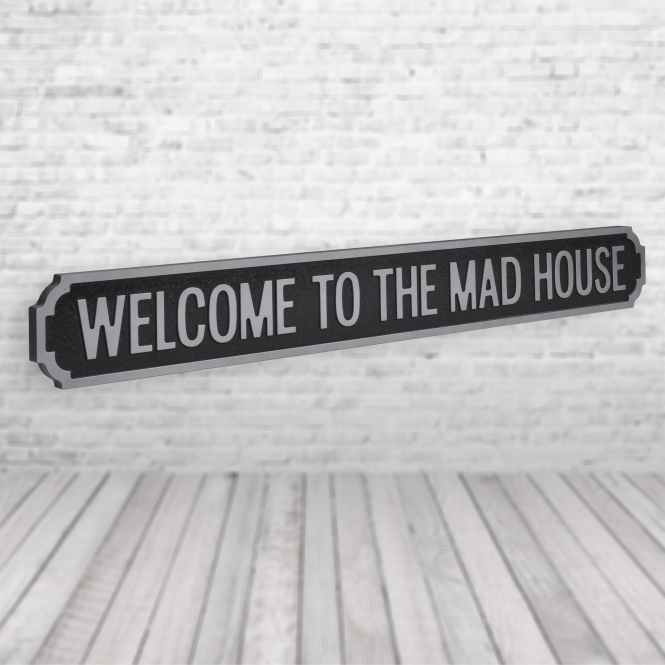 1Wall Welcome to the made house Vintage Road Sign / Street Sign | Perfect for your home Black Silver