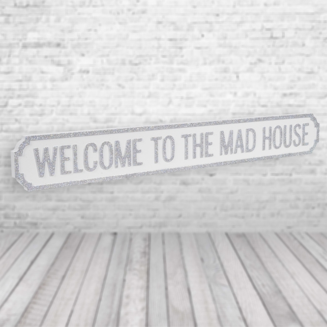 1Wall Welcome to the made house Vintage Road Sign / Street Sign | Perfect for your home White Silver
