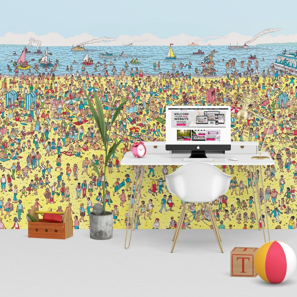 1wall where 39 s wally beach feature wall wallpaper mural for Children s mural wallpaper