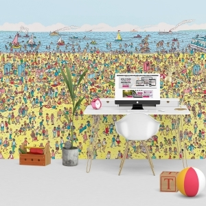 1Wall Where's Wally Beach Feature Wall Wallpaper Mural | 270cm x 253cm