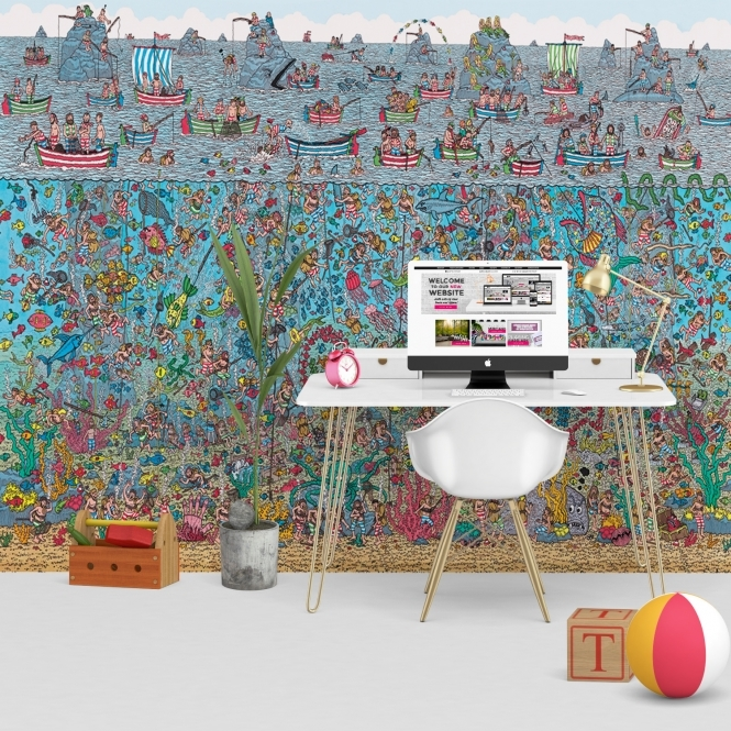 1Wall Where's Wally Deep Sea Feature Wall Wallpaper Mural | 270cm x 253cm