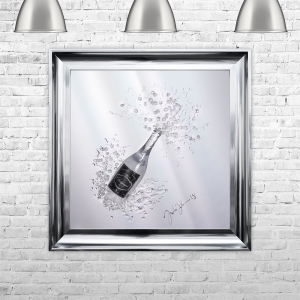 3D Champagne Bottle Liquid Art With Label | JAKE JOHNSON | 75cm x 75cm