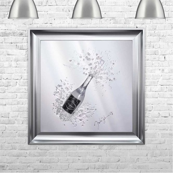 3D CHAMPAGNE BOTTLE ON MIRROR FRAMED WALL ART