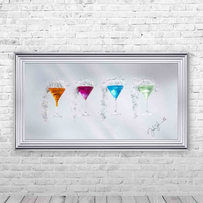3D COLOURFUL MARTINI GLASSES MIRROR FRAMED WALL ART