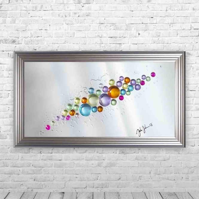 3D COLOURFUL SPHERES MIRROR FRAMED WALL ART