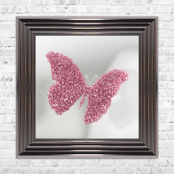 3D CRUSHED GLASS PINK BUTTERFLY ON MIRROR FRAMED WALL ART
