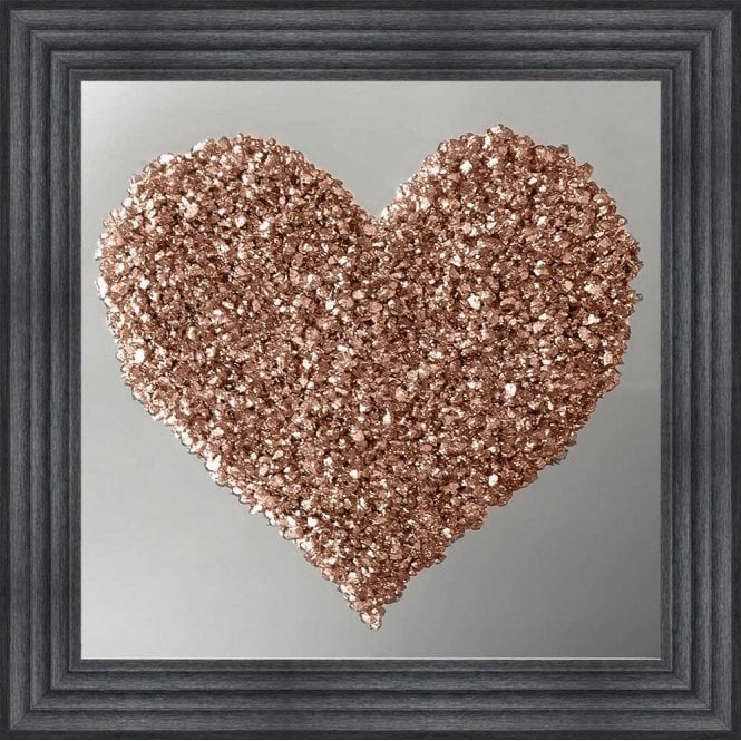 3D CRUSHED GLASS ROSE GOLD HEART ON MIRROR FRAMED WALL ART