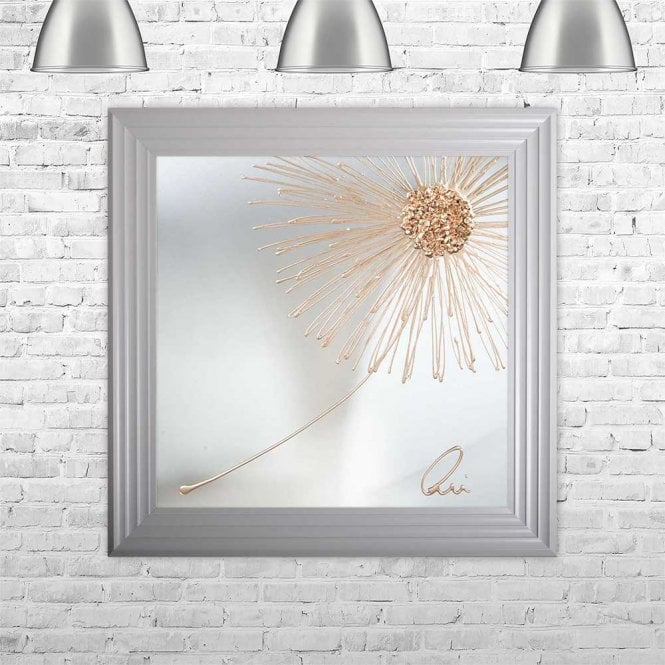 3D CRUSHED GLASS ROSE GOLD RIGHT DANDELION ON MIRROR FRAMED WALL ART