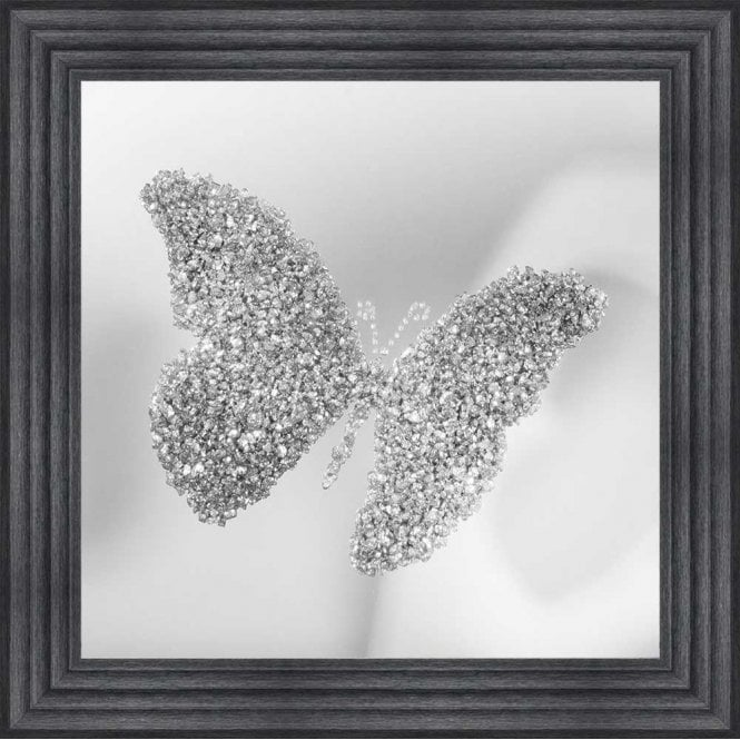 3D CRUSHED GLASS SILVER BUTTERFLY ON MIRROR FRAMED WALL ART