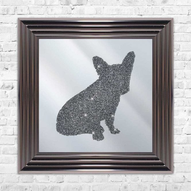 3D CRUSHED GLASS SILVER FRENCHIE ON MIRROR FRAMED WALL ART