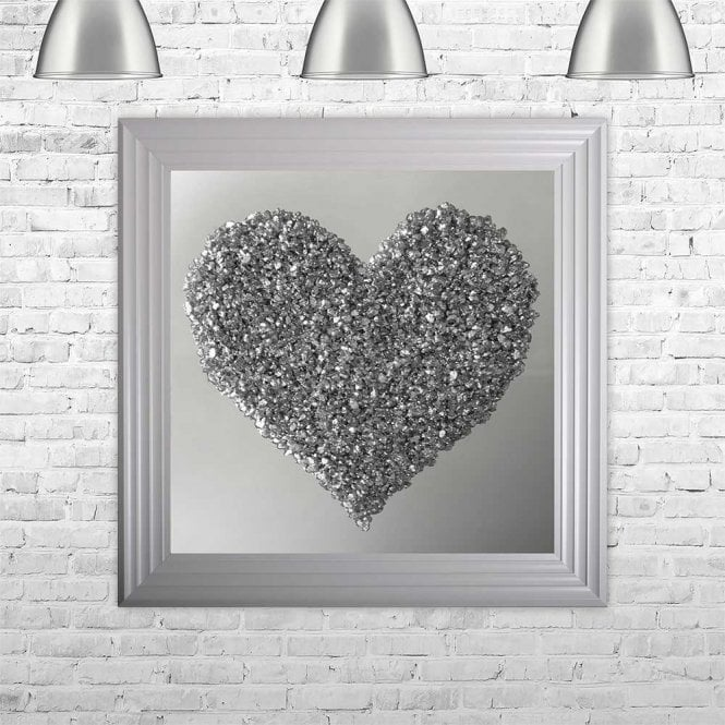 3D CRUSHED GLASS SILVER HEART ON MIRROR FRAMED WALL ART