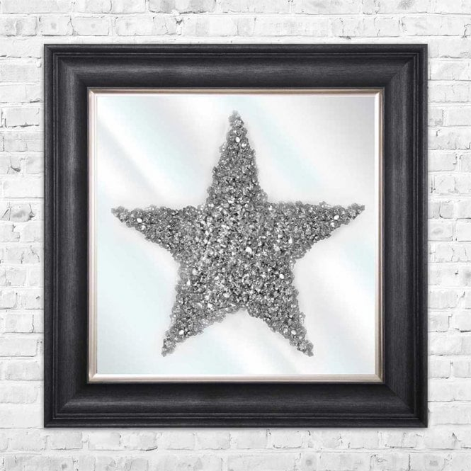3D CRUSHED GLASS SILVER STAR ON MIRROR FRAMED WALL ART