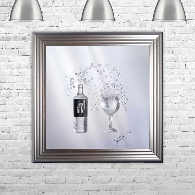 3D GIN BOTTLE AND COPA GLASS ON MIRROR FRAMED WALL ART