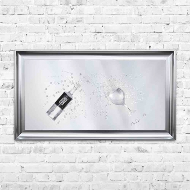 3D GIN BOTTLE & COPA GLASS MIRROR FRAMED WALL ART