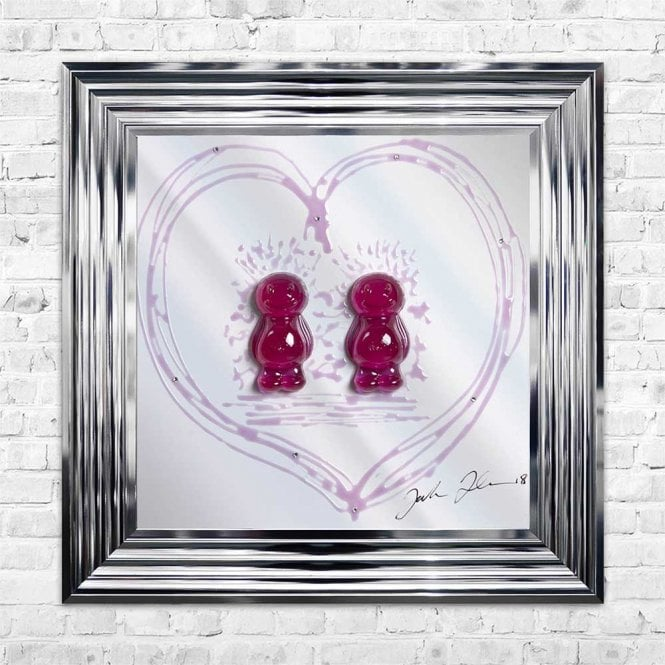 3D JELLY BABIES FEMALE COUPLE MIRROR FRAMED WALL ART