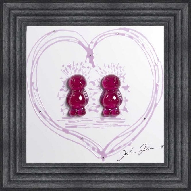 3D JELLY BABIES FEMALE COUPLE WHITE BACKGROUND FRAMED WALL ART