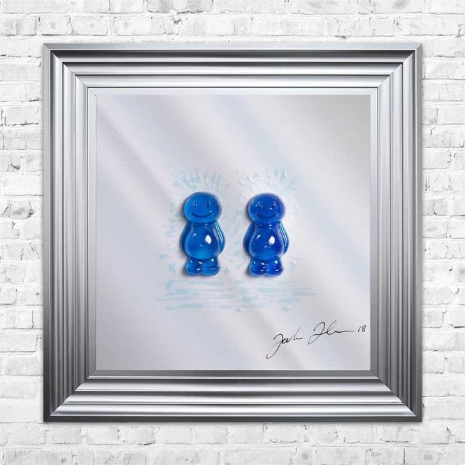 3D JELLY BABIES MALE COUPLE MIRROR FRAMED WALL ART