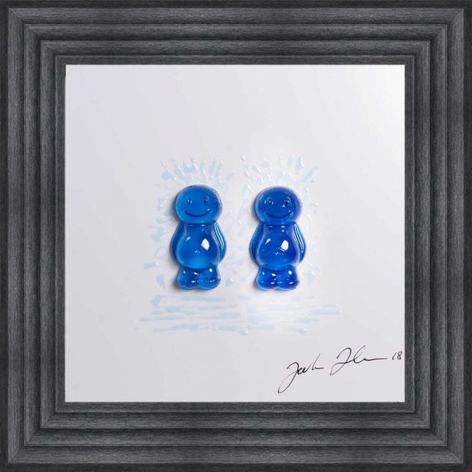3D JELLY BABIES MALE COUPLE WHITE BACKGROUND FRAMED WALL ART