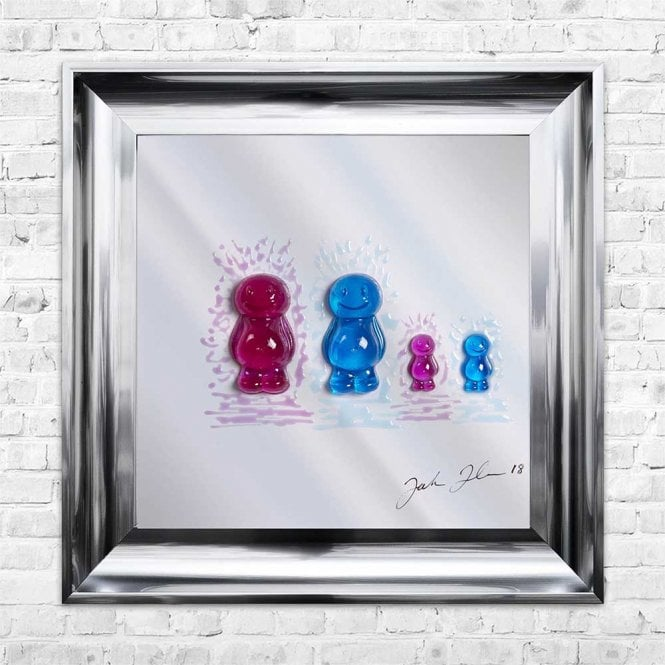 3D JELLY BABIES MUM DAD BABY BABY MIRROR FRAMED WALL ART