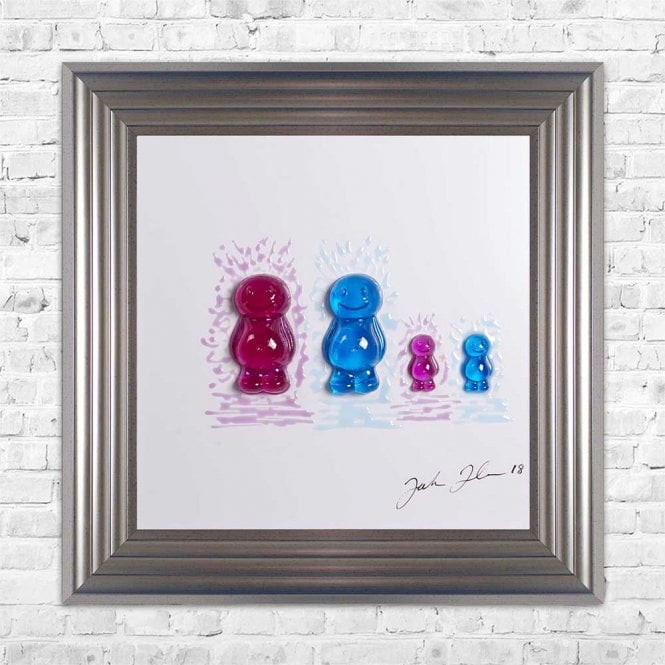 3D JELLY BABIES MUM DAD BABY BABY WHITE BACKGROUND FRAMED WALL ART