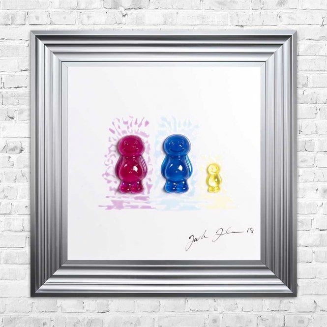 3D JELLY BABIES MUM, DAD & BABY WHITE BACKGROUND FRAMED WALL ART