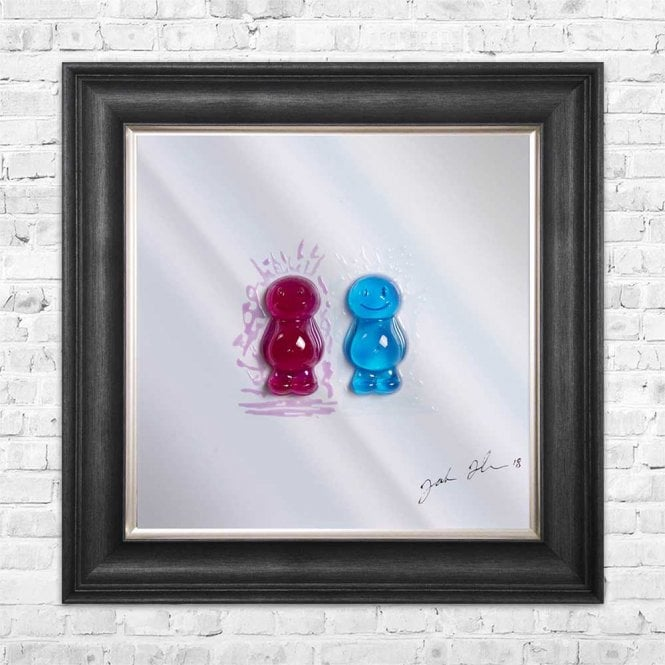 3D JELLY BABIES MUM & DAD MIRROR FRAMED WALL ART