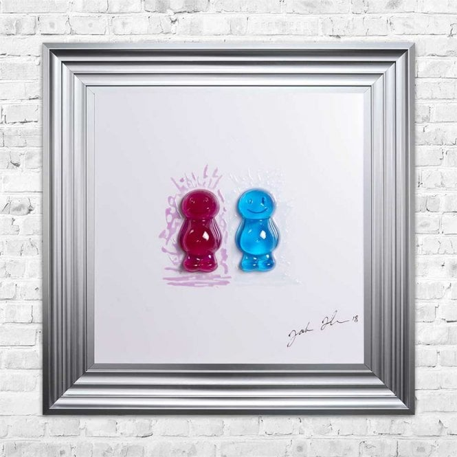 3D JELLY BABIES MUM & DAD WHITE BACKGROUND FRAMED WALL ART