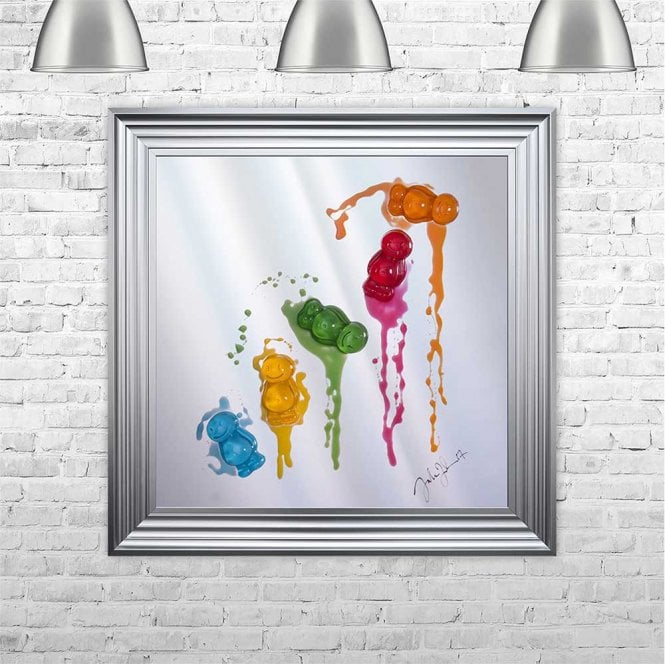 3D JELLY BABIES ON MIRROR FRAMED WALL ART